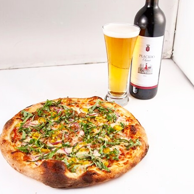 beer and pizza in Van Nuys